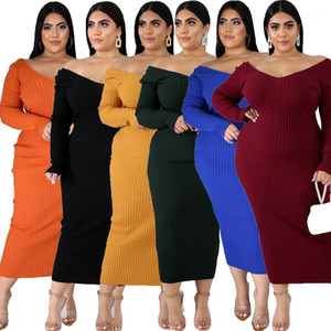 اللباس الخريف مثير الخامس الرقبة الصلبة اللون متماسكة فساتين الأزياء عارضة زائد حجم النساء الملابس النسائية مصمم ميدي