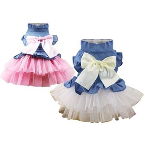 Lace Jean Dog Dresses For Small Dogs Chihuahua Summer Puppy Party Dress Pomeranian Princess Tutu Shih Tzu Yorkshire Pet Clothes LJ201130