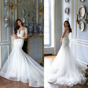 2021 Modern Wedding Dresses Long Sleeves Lace Appliques Beading Mermaid Bridal Gowns Custom Made Button Back Sweep Train Wedding Dress