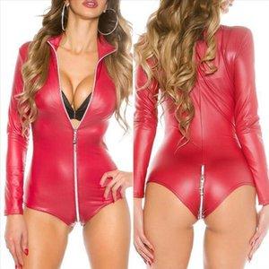 Sexy Women Wetlook PU Leather Bodysuit Cut Out Leotard Thong Tops Female Zipper Jumpsuit Clubwear Romper Long Sleeve Femme 2019