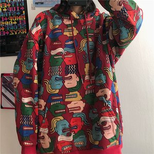 Harajuku Women Hoodies Pullovers Oversized Print Sweatshirt Korean style Hood Hooded Women's tops Loose Coat Streetwear clothes F1204
