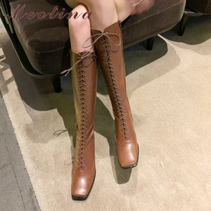 Meotina Autumn Knee High Boots Women Zipper Strange Style High Heel Long Boots Lace Up Square Toe Shoes Ladies White Size 34-39 J1220