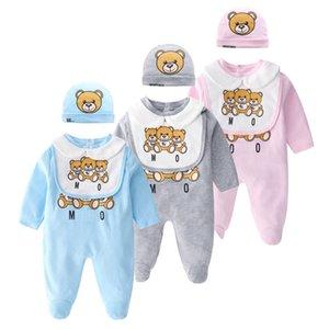 Retail Newborn baby onesies 2pcs set with cap cotton bear printed jumpsuit one-piece onesies jumpsuits toddle infant kids  clothes