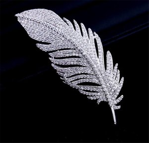 Zircon Feather Brooches Pins For Women Wedding Bridal Brooch Pin Silver Korean Jewelry Dress Ornament Brooches Pins Elegant Designer Jewelry