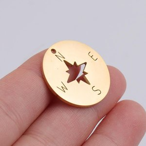 Aiovlo 5pcs Lot Rose Gold Stainless Steel Compass Pendant Charms With Hook For Diy Necklace Findings Crafts Jewelry Making sqcYcR