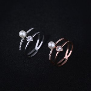 Women Pearl Jewelry Ring Metal Copper Hollow Double Circle Clear Diamond Zircon With Pearl Ring for Wome Jewelry Gift Size 6-9