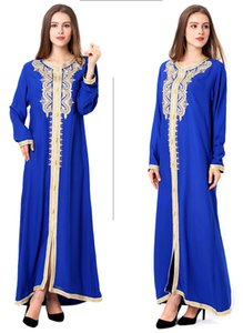 2021 New Round Neck Long Sleeve Worship Long Skirt Muslim Embroidered Lace Dress Dress Women