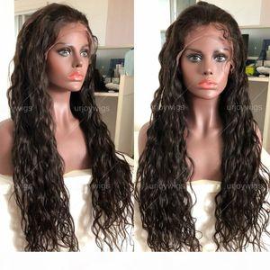 Dantel Ön Peruk 13x6 Uzun Ayrığı PrePlucked Saç Çizgisi 9A Sınıf Bakire Brezilyalı İnsan Saç Peruk Doğal Dalga Tam Dantel Peruk Siyah Wome için