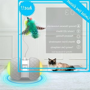 Electronic Toys Smart Automatic Teaser With Led Wheels Loadable Flash Rolling Colorful Light Cat Sticker