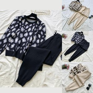 Women Knit Leopard Pullover Sweaters+Pants Sets Women Fashion Jumpers Trousers 2 pieces Costumes Outfit