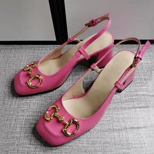Diseñador elegante verano sandalias de verano sexy tacones altos tacones altos hebilla de metal tacón de tacón grueso zapatos de mujer nuevos zapatos de boda nupcial de las mujeres vestido rojo sho