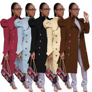 Mujer de la ropa exterior de las mujeres de color sólido de manga de manga larga cuello de solapa de doble pecho, abrigos largos para mujer, diseñador de mujer, abrigo, otoño e invierno