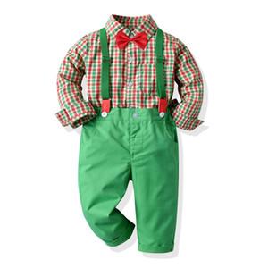 garçons de Noël à carreaux enfants tenues de printemps Bow ensembles rouge chemise + pantalon à carreaux verts jarretelle enfants vêtements de fête de Noël A5103