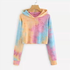 Tie dye Female Long Sleeve Hoodie Pullover Sweatshirt Rainbow Letter Print Womens Sweatshirt Tops Ladies clothes felpe donna