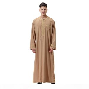 New Hot Men Thobe Solid Color Round Neck Long Sleeves Zipper Arab Muslim Wear YAA99