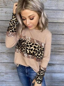 Sweatshirts Fashion Leopard Printed Womens Tops Loose with Sequins Crew Neck Womens Clothing Women Designers Panelled