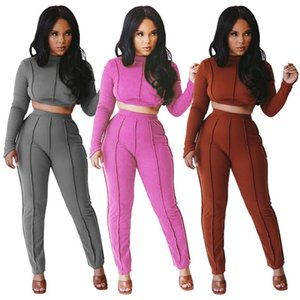 women designer tracksuit long sleeve outfits shirt pants 2 piece set skinny shirt tights sport suit pullover pants hot klw0534