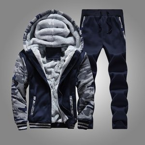 Autumn Winter Warm Tracksuit Men 2 Piece Thick Sweatshirt Jackets Sweatpant Brand Mens Suit Casual Sportswear Male Outwear