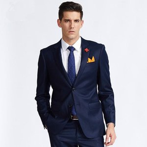 Custom Made Dark Blue Men Suits Slim Fit Groom Tuxedos Two Pieces Men Wedding Suit Formal Party Suits (Jacket+Pants)