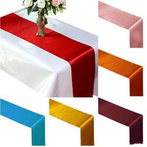Corredores de mesa de cetim de corredor de mesa para fita de cetim de casamento bandeira de corredor de mesa de cetim de decorações de banquete de casamento YHM540