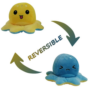 New Funny Emotion Jellyfish Reversible Plush Toys Cute Soft Double Sided Plush Doll Pulpo Reversible Peluche Home Decor 1pc jllbua