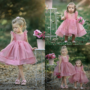 Lovely Pink Flower Girl Dresses Tulle Toddlers Princess Little Girls Birthday Party Gowns Formal Party For Wedding Bridesmaid Dress