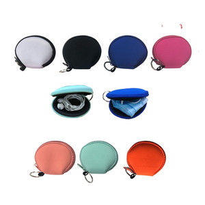 RTS Plain Color White Black Blank For Sublimation Waterproof Earbud Case Bag Neoprene Zipped Coin Purse Face Cover Bag With Keyrings AC1161