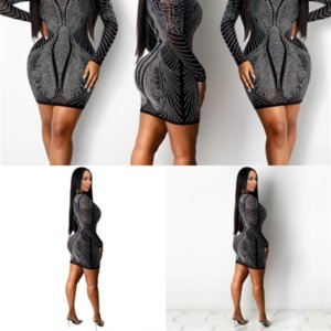 Robes fentes femmes o creux midi robe occasionnel manches sexy 8il Sexy automne Out Ceremokiss Casl Robe à col solide Side Side Puri RLNM
