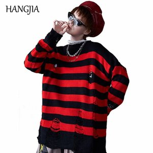 Women's Black Red Striped Knit Sweaters Autumn Winter Hole Ripped Pullovers Women Fashion Oversized Jumpers All Match Clothing jllEhA