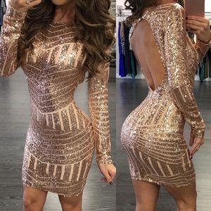 Monerffi Sexy Backless Gold Gold Saisance Femme Robe à manches longues Mini Mini Mini Fête Robe courte Package Hip Geath Vestidos