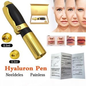 2in1 Meso Injection Gun Hyaluron Pen 0.3ml&0.5ml Head Gold Hyaluronique Acid Pen Lip Filler Jnjector Noninvasive Nebulizer New