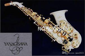 Novo Saxofone Curvo Yanagisawa S-991 BB Instrumento Musical Soprano Sax Branco Tinta Profissional Desempenho com Caso Livre