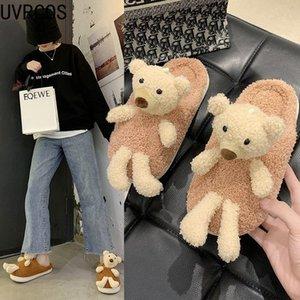 2020 Winter Slippers Female Bear Decoration Personality Vamp Casual Furniture Furry Female Slippers J1205
