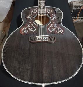 Guitarra acústica de color gris de 43 pulgadas de 4 pulgadas, pescuriega de palisandro con abalone purfling