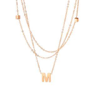 Online Heißer Verkauf Titanium Edelstahl Neklace Frauen Mode Mütze Design Buchstabe M Anhänger Charm Halskette Damen Partei Zubehör