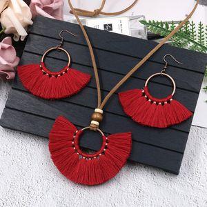 New Arrival Adjustable Leather Rope Bohemian Cotton Tassel Collar Necklaces Set Boho Ethnic Retro Silk Tassel Hook Earrings