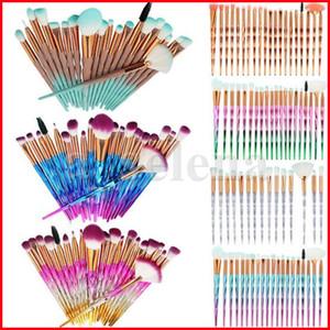20pcs / set Pennello per il trucco Set Cosmetici Brushes Maniglia Diamante Fondazione Eye Shadow Brush Eye Face Brushes Make Up Kit