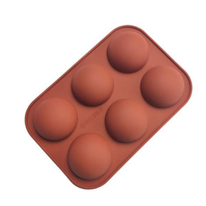 6 Holes Silicone Baking Mold for Baking 3D Bakeware Chocolate Half Ball Sphere Mold Cupcake Cake DIY Muffin Kitchen Tool AHD3254