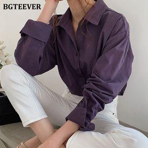 BGTEEVER Vintage Turn-down Collar Women Blouse Shirts Autumn Winter Thicken Female Blouse Tops Workwear Purple Shirts 2020 A1112