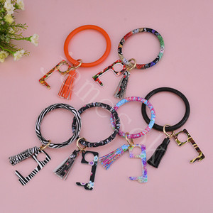 PU protective key chain Leather key ring Acrylic key chain bracelet door opener contact-proof elevator tool 20 kinds of style DB262