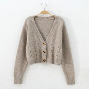 Autumn Winter Short High Waist Solid Color Sweater Women Single-breasted Knit Cardigan Small Sweter Women Jacket New Top Femme