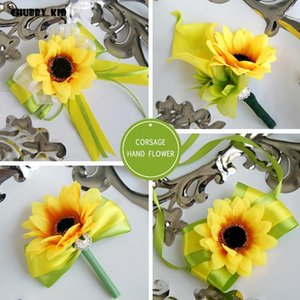 10pcs lot ! Artificial yellow color sunflower groomsmen boutonnieres groom corsages bridal wrist flowers Bridesmaid hand flowers