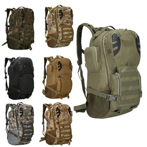 Outdoor Sports Pack Hiking Bag Tactical Rucksack Camo Knapsack Combat Camouflage Tactical Molle 45L Backpack NO11-015