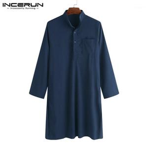 남성 캐주얼 셔츠 브랜드 2021 남성 의류 정장 셔츠 가운 긴 소매 남성 느슨한 스탠드 칼라 이슬람교 인 이슬람교 1