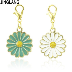 JINGLANG New Enamel Simple Cartoon Daisy Flower Pendent Dangle Charm Fit Original Bracelets Women DIY Lady Gift