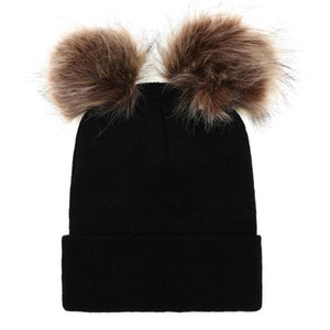 Women Girl Faux Fur Autumn Winter Soft Warm Pompom Beanies Double Ball Knitting Solid Hat