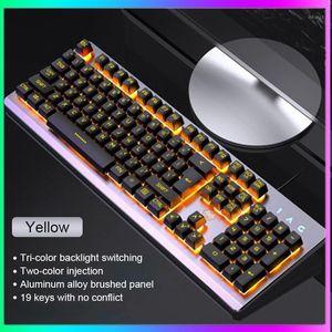 Mechanische Keyboards RGB Edition Mechanische Tastatur 104 Tasten Blue Switch Gaming Keyboards für Tablet-Desktop English Sticker1