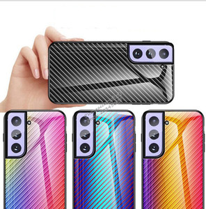 TPU tempered glass carbon fiber pattern gradient ramp glass mobile phone case for Samsung Galaxy S21 Plus A71 5g Note20 Ultra a21s