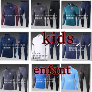 Nouveau Kids Tracksuit Set Boys Enfants Chaussures Vêtements Soccer Soccer Tracksuit Kids 20 21 Football Kits de football rétro Jersey Football Football Suit Jerseys