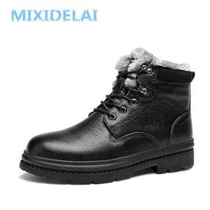 Mixidelai Yüksek Kalite Hakiki Deri Kış Su Geçirmez Ayak Bileği erkek Açık Çalışma Kar Botları Erkek Ayakkabı 201126